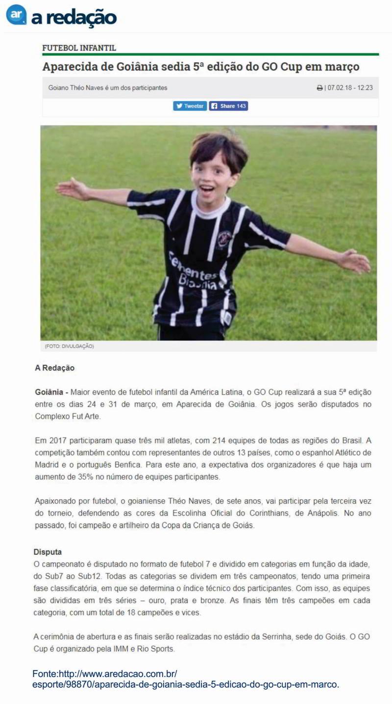 Théo Naves - recorte anunciando sua participação no torneio internacional de futebol infantil. A Redação, p. 10, em 07.02.2018
