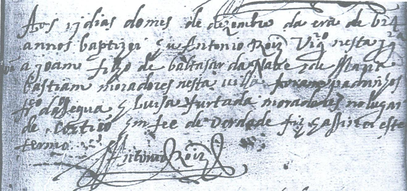 Registro de Batismo de João de Almeida Naves, Algodres, Portugal, 1624